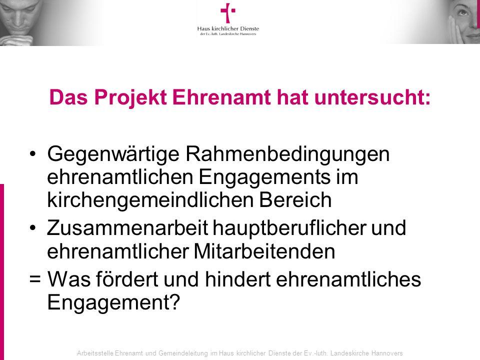 Arbeitsstelle Ehrenamt und Gemeindeleitung im Haus kirchlicher Dienste der Ev.-luth. Landeskirche Hannovers Das Projekt Ehrenamt hat untersucht: Gegen