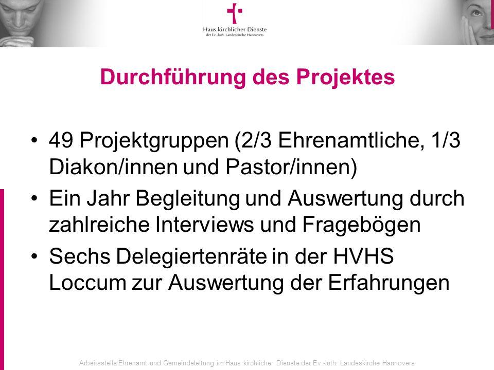 Arbeitsstelle Ehrenamt und Gemeindeleitung im Haus kirchlicher Dienste der Ev.-luth. Landeskirche Hannovers Durchführung des Projektes 49 Projektgrupp