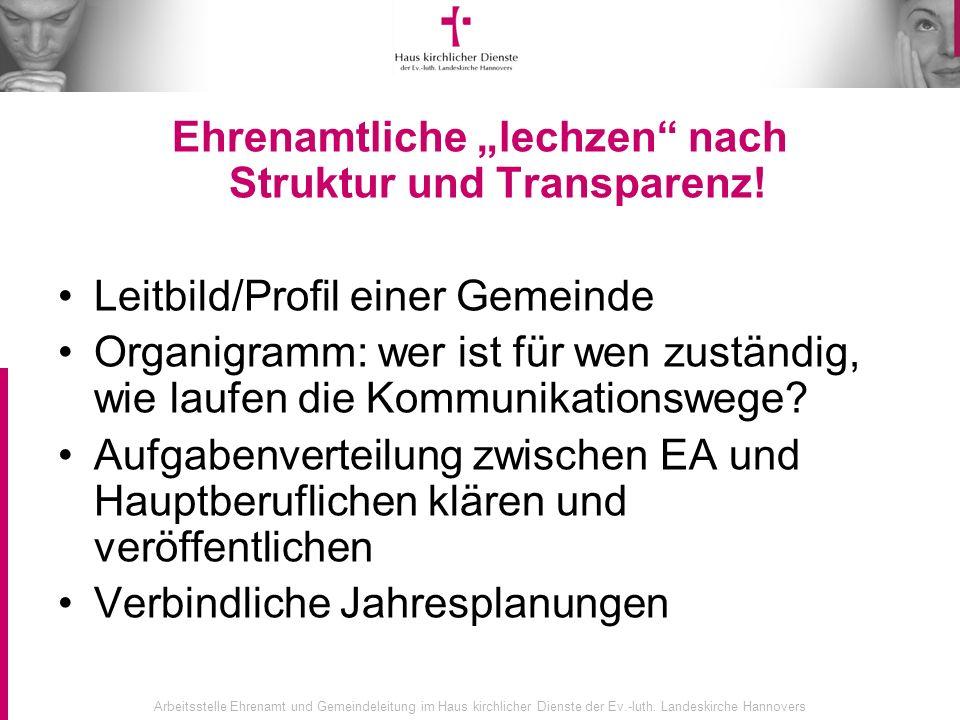 Arbeitsstelle Ehrenamt und Gemeindeleitung im Haus kirchlicher Dienste der Ev.-luth. Landeskirche Hannovers Ehrenamtliche lechzen nach Struktur und Tr