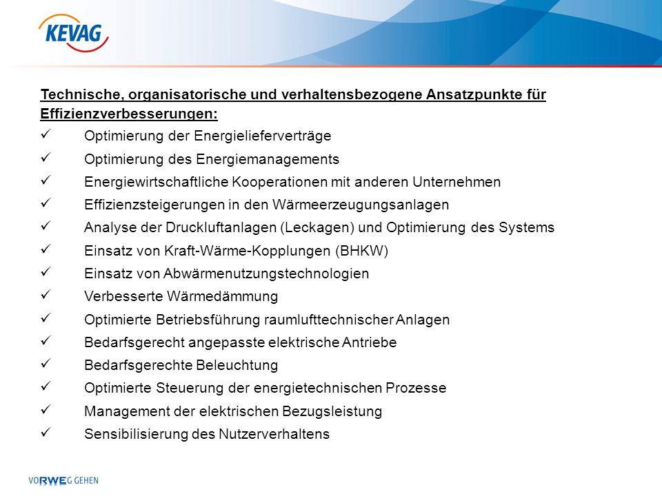 Technische, organisatorische und verhaltensbezogene Ansatzpunkte für Effizienzverbesserungen: Optimierung der Energielieferverträge Optimierung des En