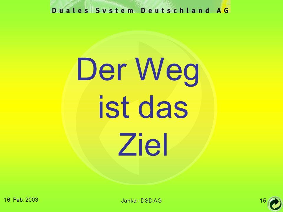 16. Feb. 2003 Janka - DSD AG15 Der Weg ist das Ziel