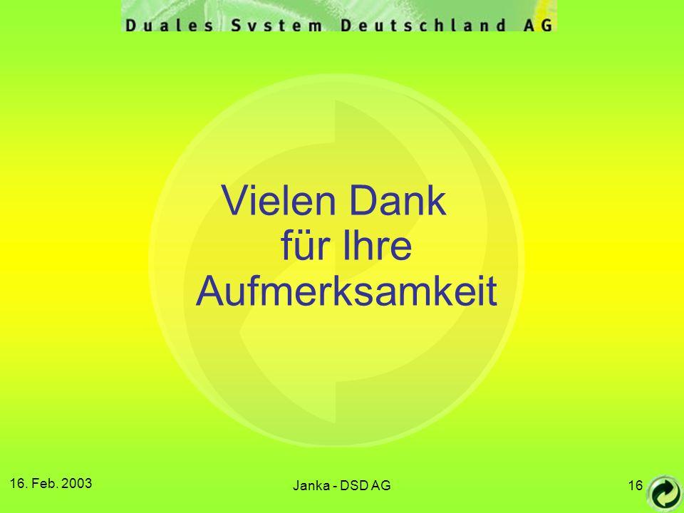 16. Feb. 2003 Janka - DSD AG16 Vielen Dank für Ihre Aufmerksamkeit