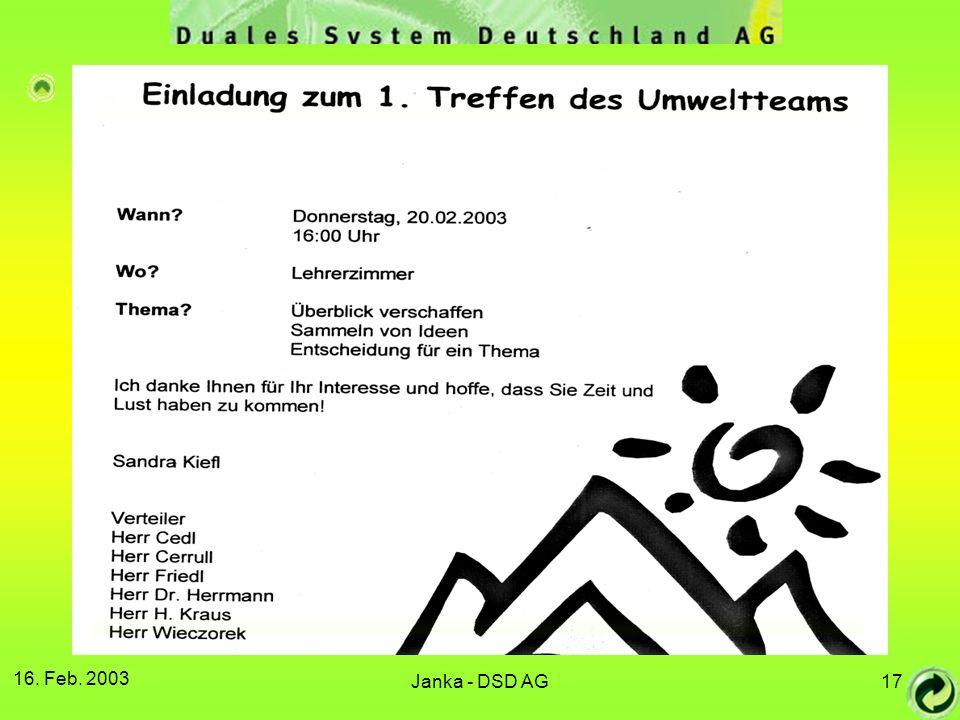 16. Feb. 2003 Janka - DSD AG17