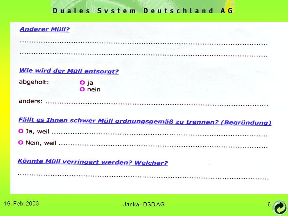 16. Feb. 2003 Janka - DSD AG7