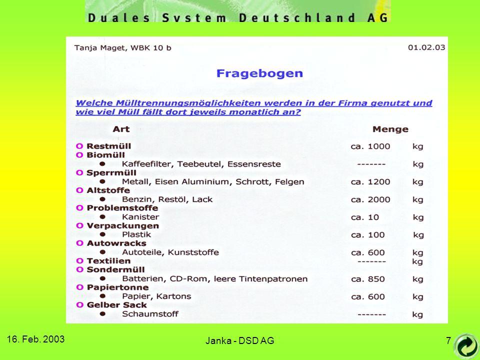16. Feb. 2003 Janka - DSD AG8