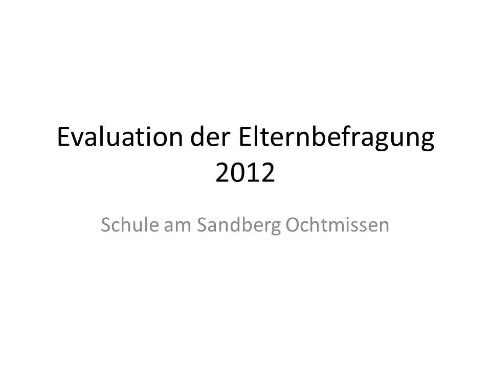 Evaluation der Elternbefragung 2012 Schule am Sandberg Ochtmissen