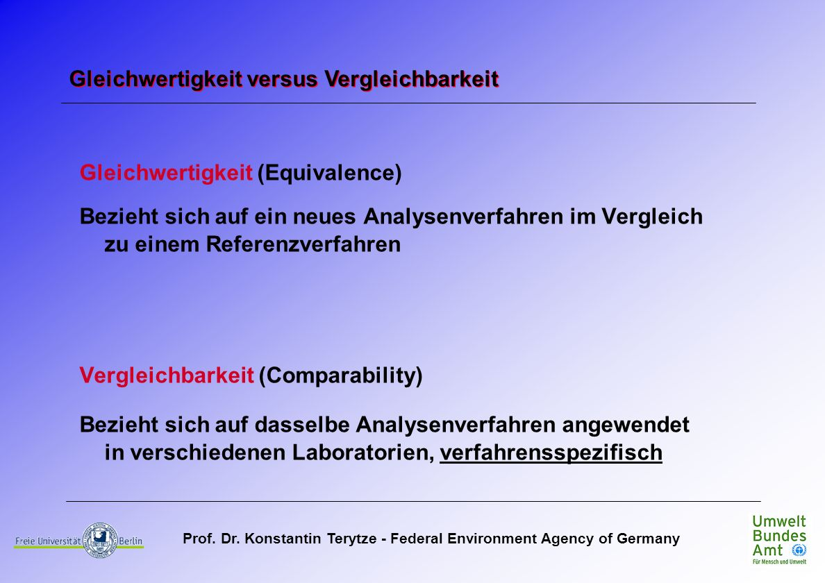 Prof. Dr. Konstantin Terytze - Federal Environment Agency of Germany Gleichwertigkeit (Equivalence) Bezieht sich auf ein neues Analysenverfahren im Ve