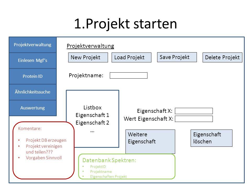 1.Projekt starten Projektverwaltung Einlesen Mgfs Protein ID Ähnlichkeitssuche Auswertung Projektverwaltung New ProjektLoad Projekt Projektname: Save