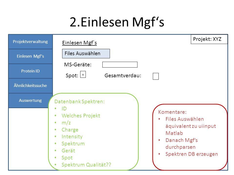 2.Einlesen Mgfs Projektverwaltung Einlesen Mgfs Protein ID Panel 1 Einlesen Mgf`s Projekt: XYZ Spot: MS-Geräte: Files Auswählen x Gesamtverdau: Koment