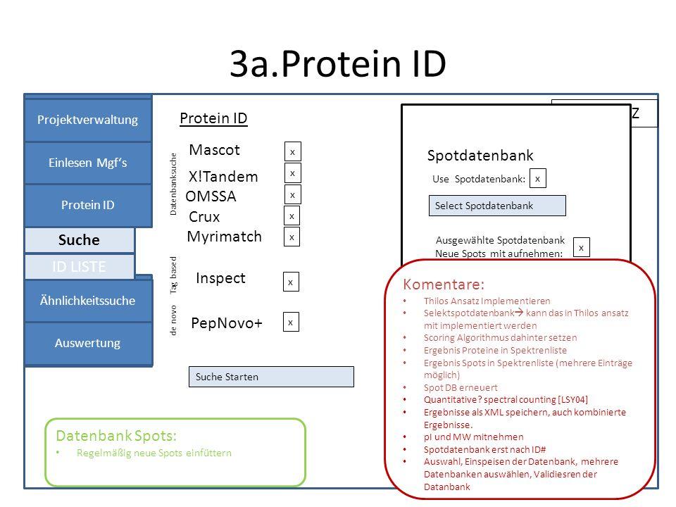 3a.Protein ID Projektverwaltung Einlesen Mgfs Protein ID Panel 1 Protein ID Projekt: XYZ Datenbanksuche X!Tandem Files Auswählen x OMSSA Inspect Myrim