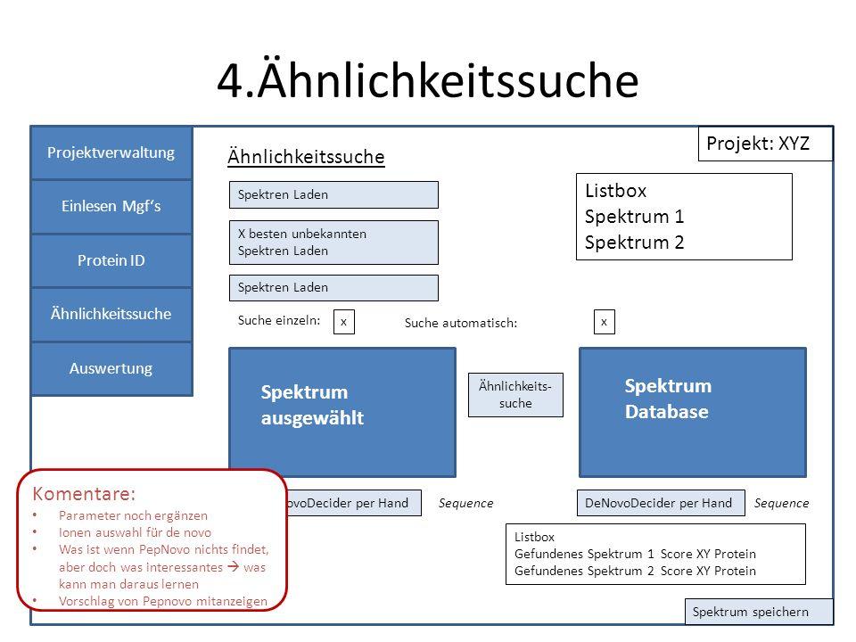4.Ähnlichkeitssuche Projektverwaltung Einlesen Mgfs Protein ID Panel 1 Ähnlichkeitssuche Projekt: XYZ Suche einzeln: Listbox Spektrum 1 Spektrum 2 x P