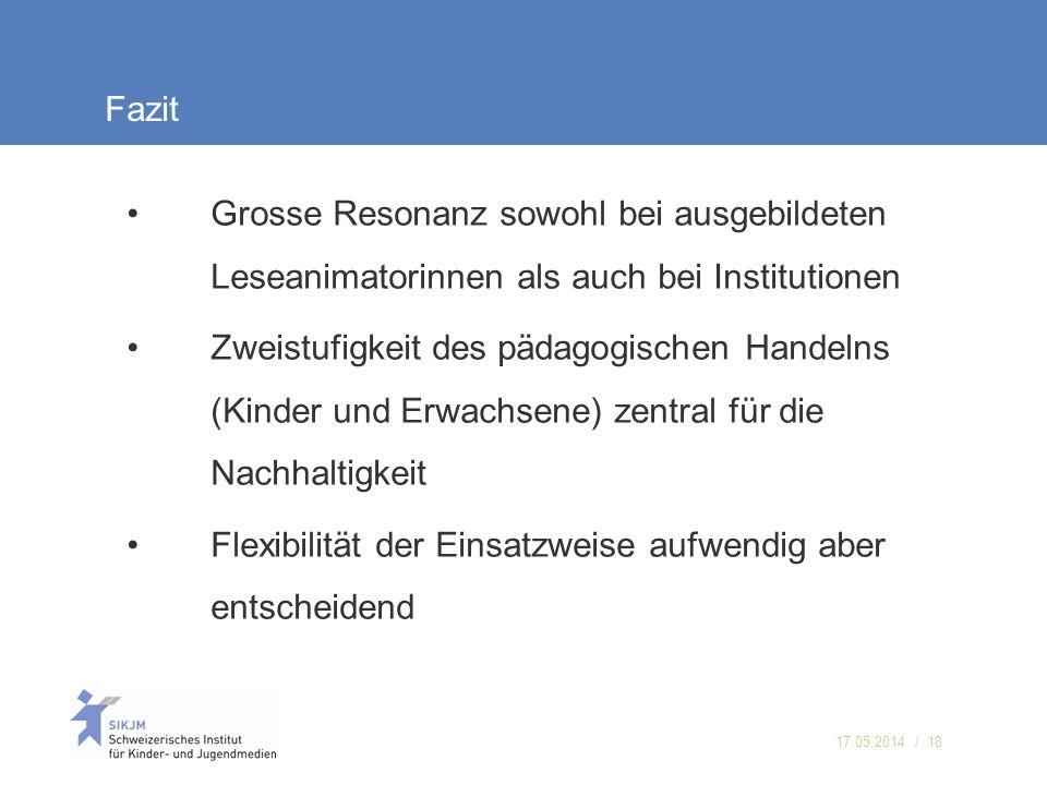 17.05.2014 / 18 Fazit Grosse Resonanz sowohl bei ausgebildeten Leseanimatorinnen als auch bei Institutionen Zweistufigkeit des pädagogischen Handelns