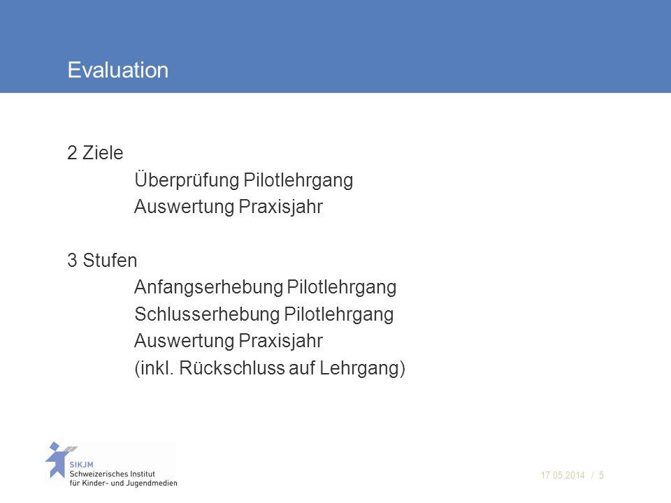17.05.2014 / 5 Evaluation 2 Ziele Überprüfung Pilotlehrgang Auswertung Praxisjahr 3 Stufen Anfangserhebung Pilotlehrgang Schlusserhebung Pilotlehrgang