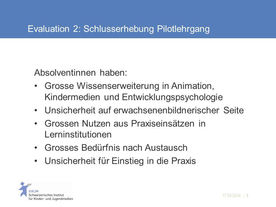 17.05.2014 / 8 Evaluation 2: Schlusserhebung Pilotlehrgang Absolventinnen haben: Grosse Wissenserweiterung in Animation, Kindermedien und Entwicklungs