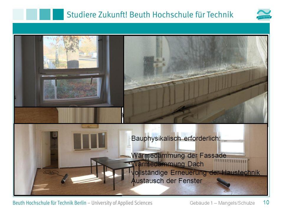 Erforderliche Maßnahmen unabhängig vom Denkmalschutz 10 Gebäude 1 – Mangels/Schulze Bauphysikalisch erforderlich: Wärmedämmung der Fassade Wärmedämmun