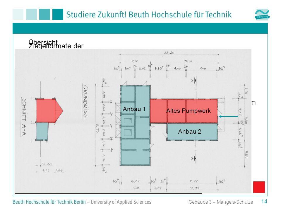 Gebäude 3 – Mangels/Schulze Ziegelformate der einzelnen Gebäudeteile Altes Pumpwerk 25 cm x 6,5 cm = altes Reichsformat 14 Übersicht Anbau 1 Altes Pum