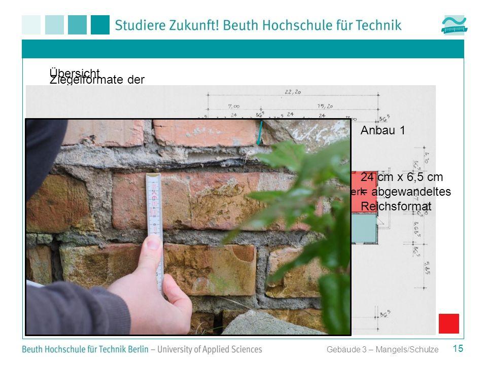 Gebäude 3 – Mangels/Schulze Ziegelformate der einzelnen Gebäudeteile Anbau 1 Altes Pumpwerk Anbau 2 Anbau 1 24 cm x 6,5 cm = abgewandeltes Reichsforma