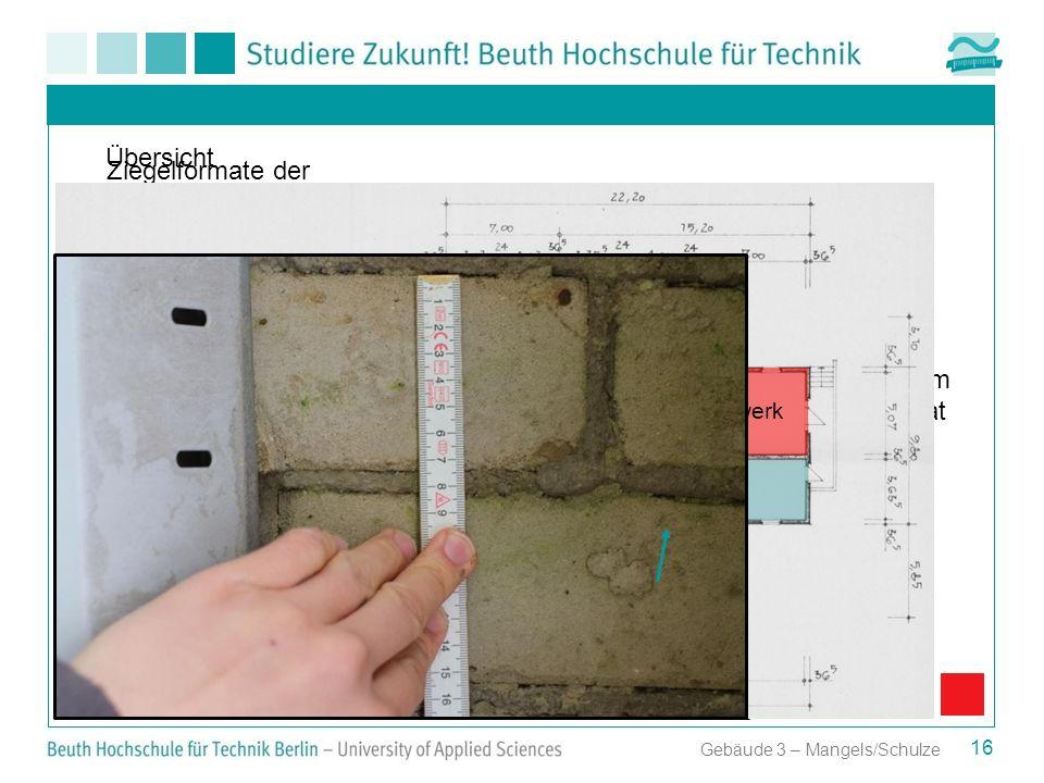Gebäude 3 – Mangels/Schulze Ziegelformate der einzelnen Gebäudeteile Anbau 2 24 cm x 7,1 cm = DIN - Format 16 Übersicht Anbau 1 Altes Pumpwerk Anbau 2