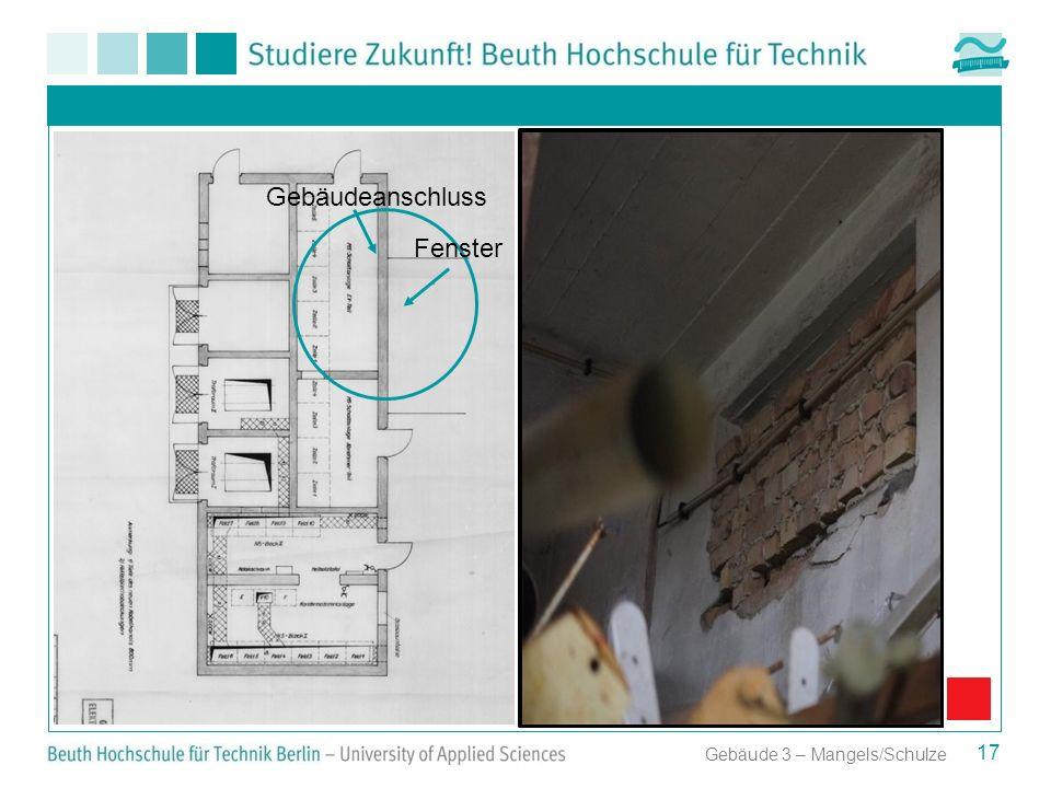 Aufstellungsplan der Transformatoren für Anbau 2 17 Gebäude 3 – Mangels/Schulze Gebäudeanschluss Fenster