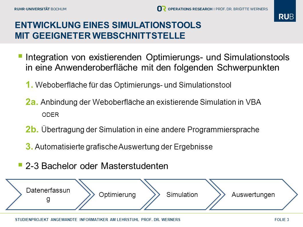 FOLIE 3 ENTWICKLUNG EINES SIMULATIONSTOOLS MIT GEEIGNETER WEBSCHNITTSTELLE Integration von existierenden Optimierungs- und Simulationstools in eine An