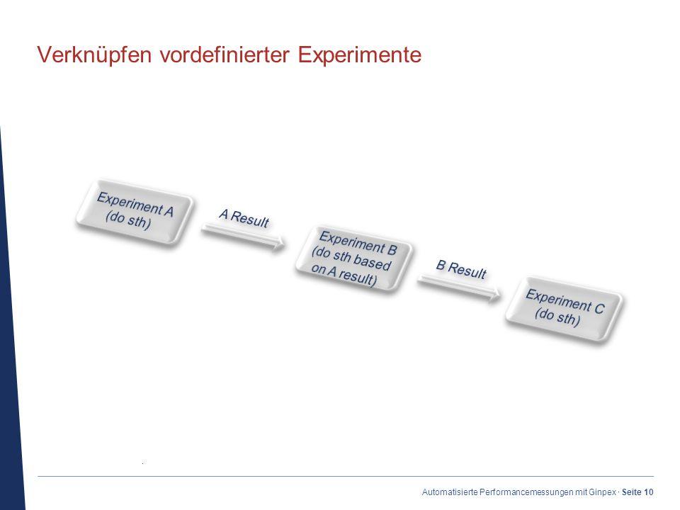 · Automatisierte Performancemessungen mit Ginpex · Seite 10 Verknüpfen vordefinierter Experimente