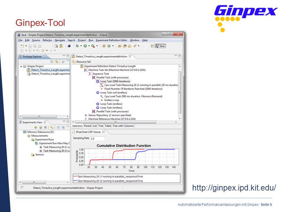 · Automatisierte Performancemessungen mit Ginpex · Seite 6 Ginpex-Tool http://ginpex.ipd.kit.edu/