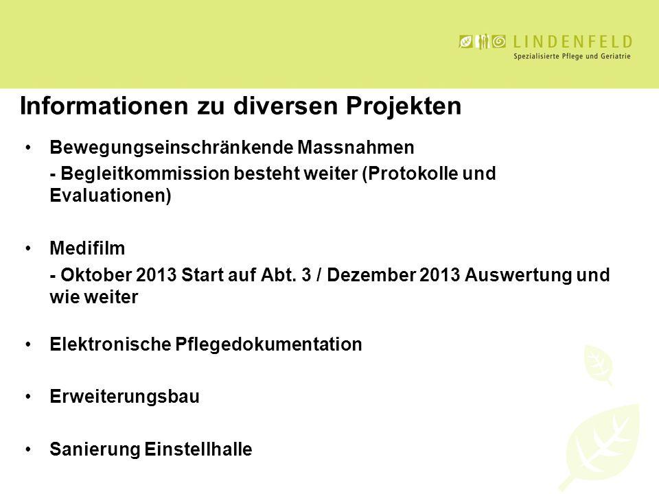 Informationen zu diversen Projekten Bewegungseinschränkende Massnahmen - Begleitkommission besteht weiter (Protokolle und Evaluationen) Medifilm - Okt