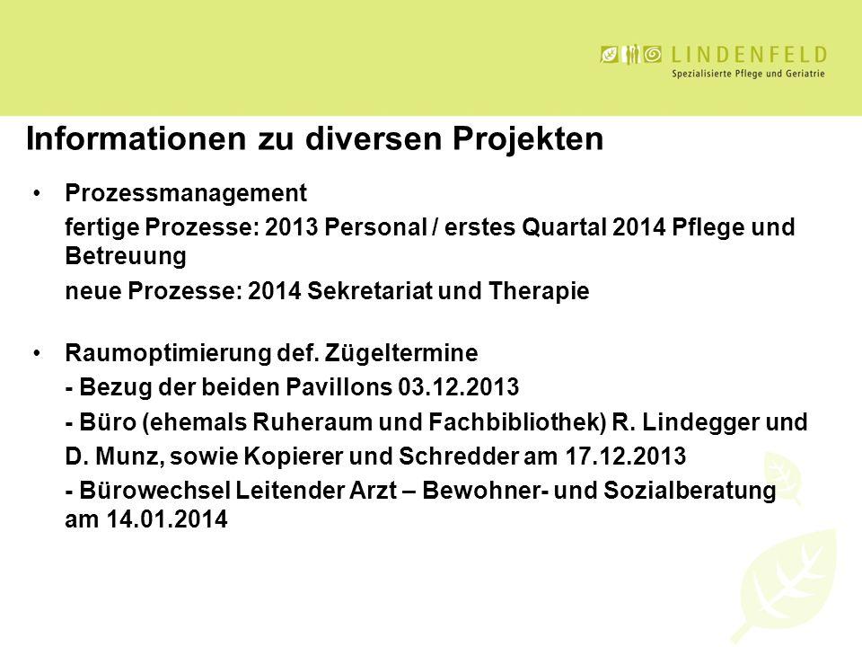 Informationen zu diversen Projekten Prozessmanagement fertige Prozesse: 2013 Personal / erstes Quartal 2014 Pflege und Betreuung neue Prozesse: 2014 S