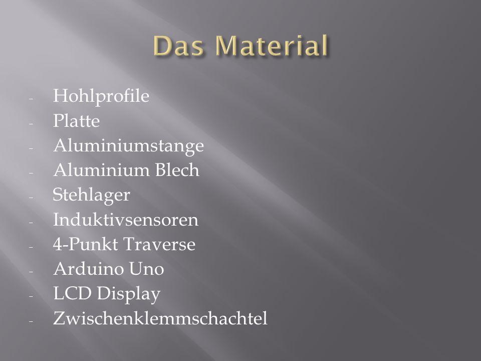- Hohlprofile - Platte - Aluminiumstange - Aluminium Blech - Stehlager - Induktivsensoren - 4-Punkt Traverse - Arduino Uno - LCD Display - Zwischenklemmschachtel