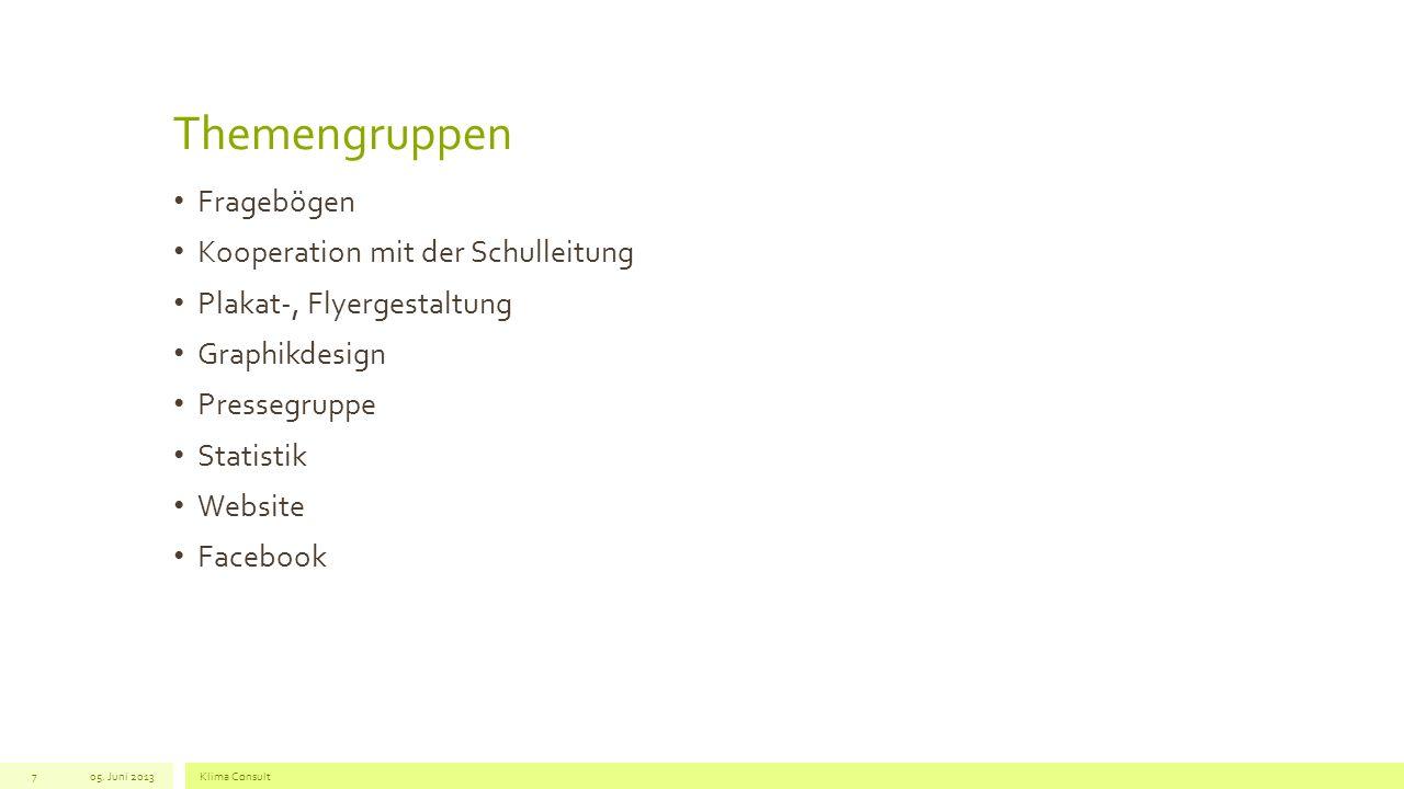 Themengruppen Fragebögen Kooperation mit der Schulleitung Plakat-, Flyergestaltung Graphikdesign Pressegruppe Statistik Website Facebook 05.