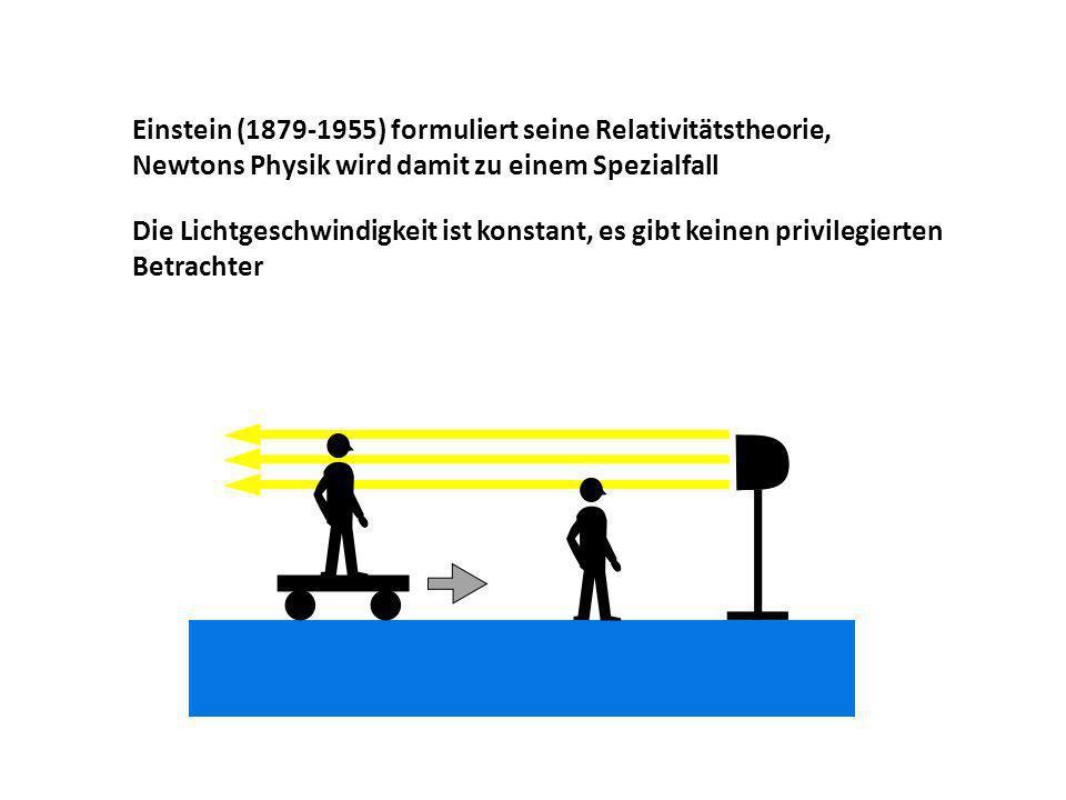Einstein (1879-1955) formuliert seine Relativitätstheorie, Newtons Physik wird damit zu einem Spezialfall Die Lichtgeschwindigkeit ist konstant, es gi