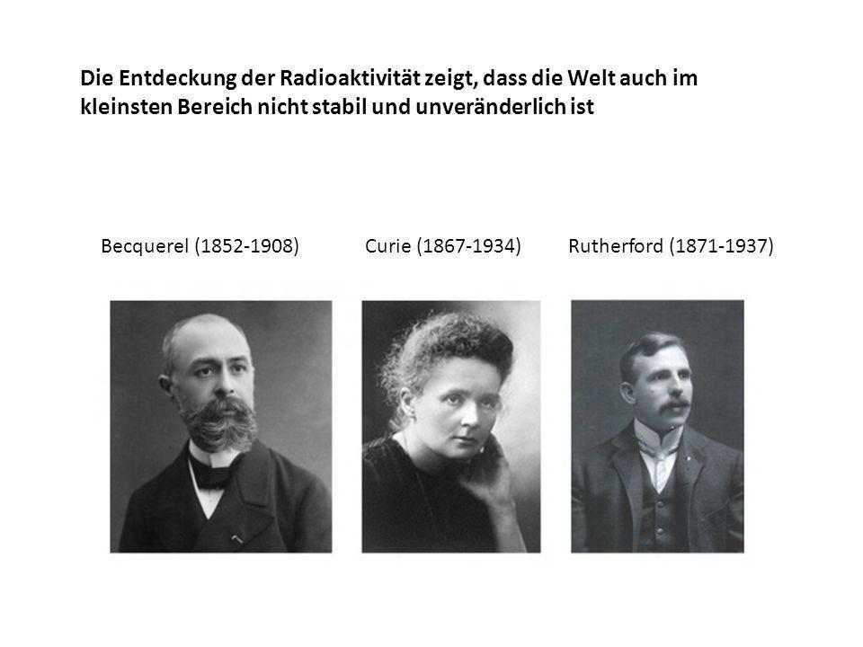 Die Entdeckung der Radioaktivität zeigt, dass die Welt auch im kleinsten Bereich nicht stabil und unveränderlich ist Becquerel (1852-1908) Curie (1867