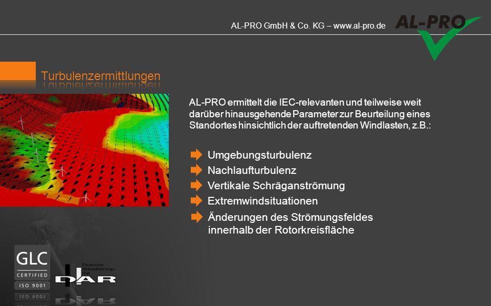 AL-PRO GmbH & Co. KG – www.al-pro.de Wir analysieren anhand erster Betriebsdaten das Betriebs- verhalten Ihres Windparks. Das von AL-PRO entwickelte h