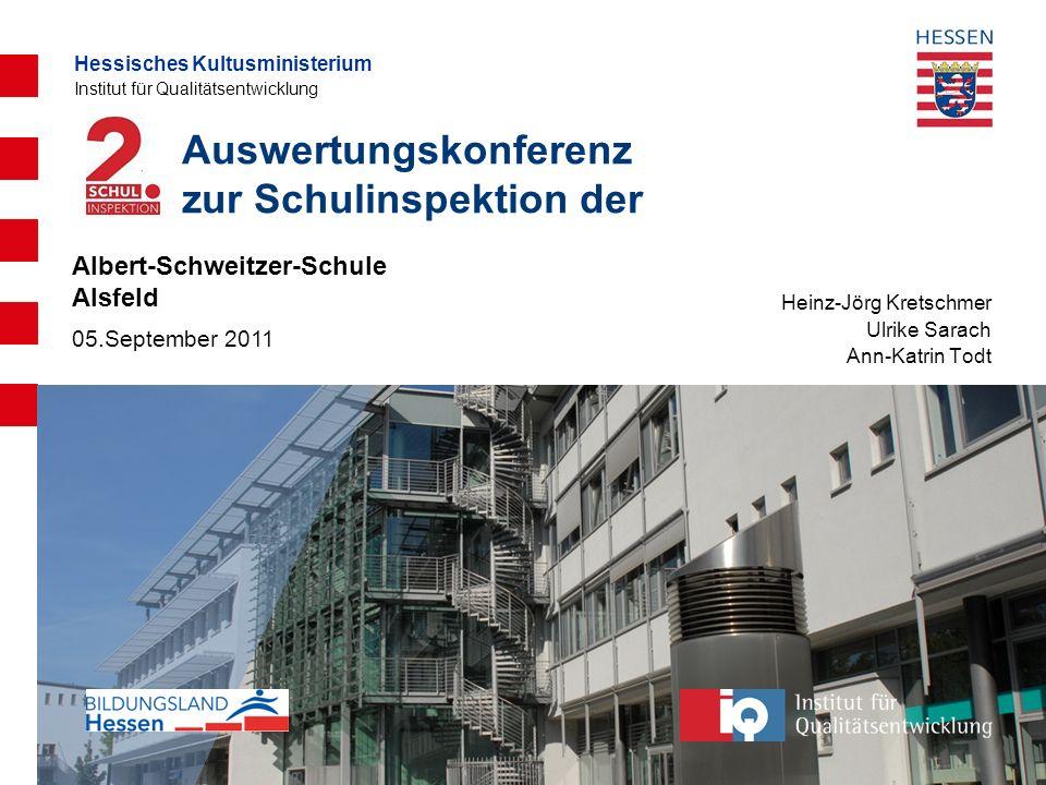 Hessisches Kultusministerium Institut für Qualitätsentwicklung Auswertungskonferenz zur Schulinspektion der Heinz-Jörg Kretschmer Ulrike Sarach Ann-Ka