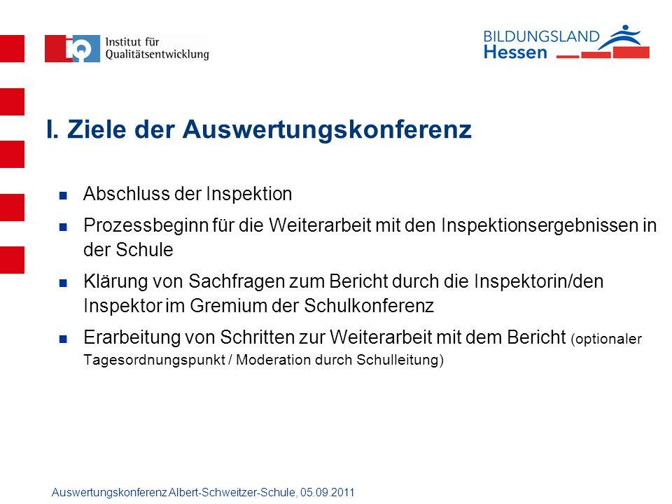 Auswertungskonferenz Albert-Schweitzer-Schule, 05.09.2011 I. Ziele der Auswertungskonferenz Abschluss der Inspektion Prozessbeginn für die Weiterarbei