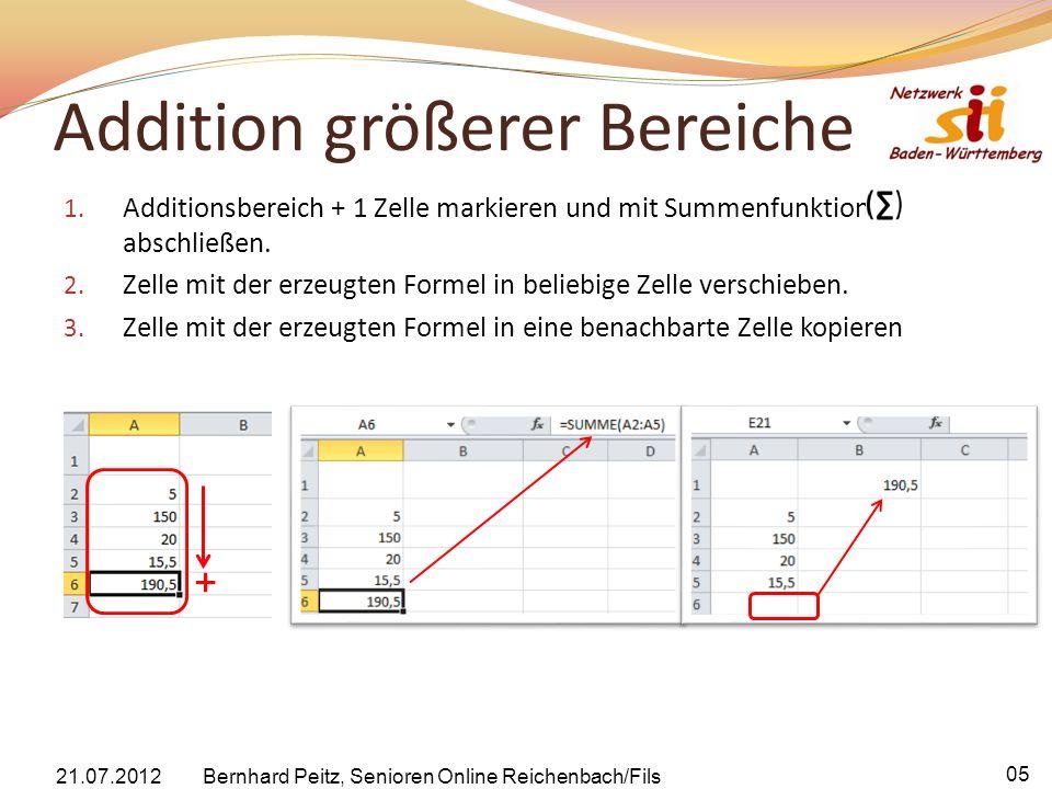 Addition größerer Bereiche 1. Additionsbereich + 1 Zelle markieren und mit Summenfunktion abschließen. 2. Zelle mit der erzeugten Formel in beliebige