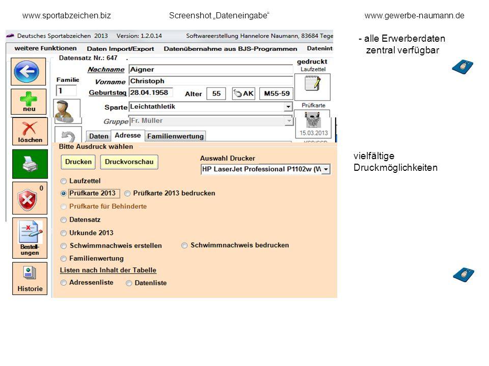 - alle Erwerberdaten zentral verfügbar vielfältige Druckmöglichkeiten