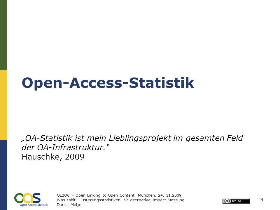 Open-Access-Statistik OA-Statistik ist mein Lieblingsprojekt im gesamten Feld der OA-Infrastruktur. Hauschke, 2009 14 OL2OC – Open Linking to Open Con