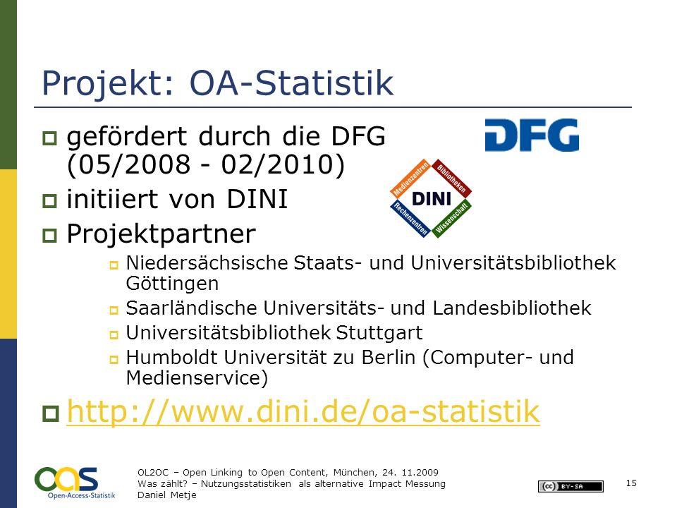 Projekt: OA-Statistik gefördert durch die DFG (05/2008 - 02/2010) initiiert von DINI Projektpartner Niedersächsische Staats- und Universitätsbibliothe