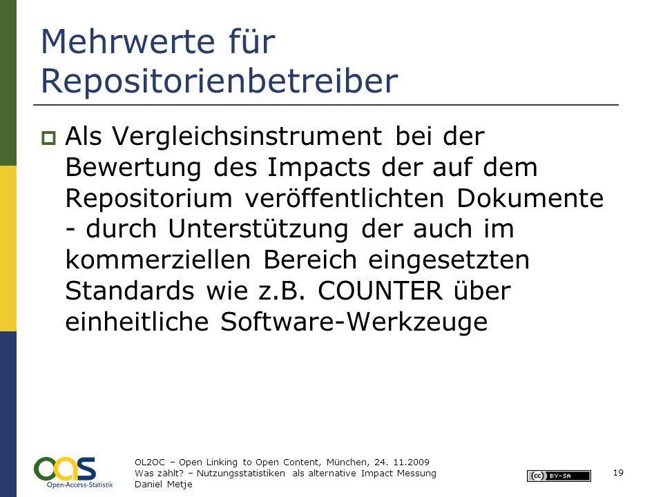 Mehrwerte für Repositorienbetreiber Als Vergleichsinstrument bei der Bewertung des Impacts der auf dem Repositorium veröffentlichten Dokumente - durch