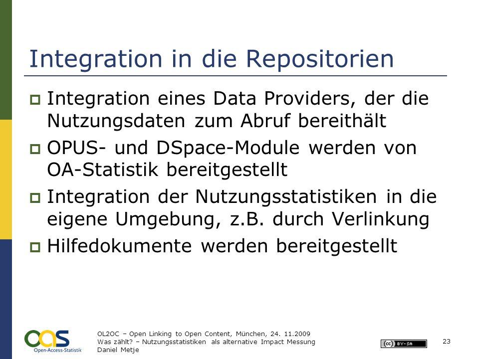 23 Integration in die Repositorien Integration eines Data Providers, der die Nutzungsdaten zum Abruf bereithält OPUS- und DSpace-Module werden von OA-