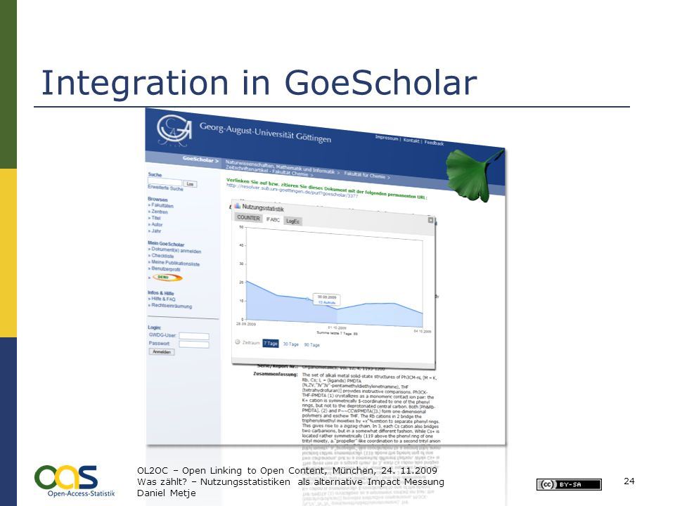 24 Integration in GoeScholar OL2OC – Open Linking to Open Content, München, 24.