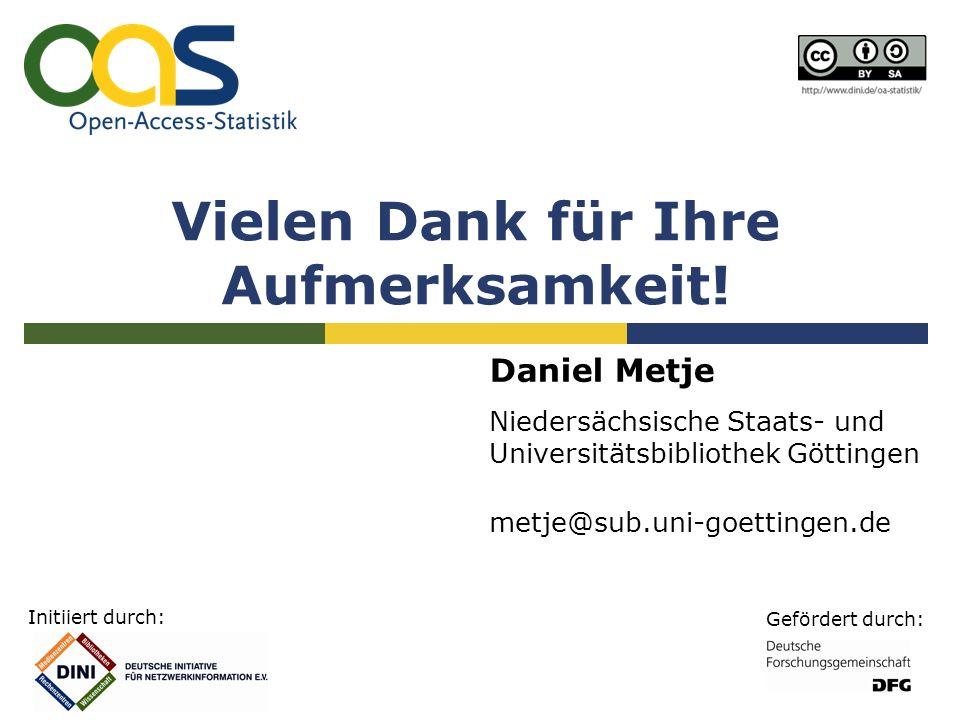 Initiiert durch: Gefördert durch: Vielen Dank für Ihre Aufmerksamkeit! Daniel Metje Niedersächsische Staats- und Universitätsbibliothek Göttingen metj