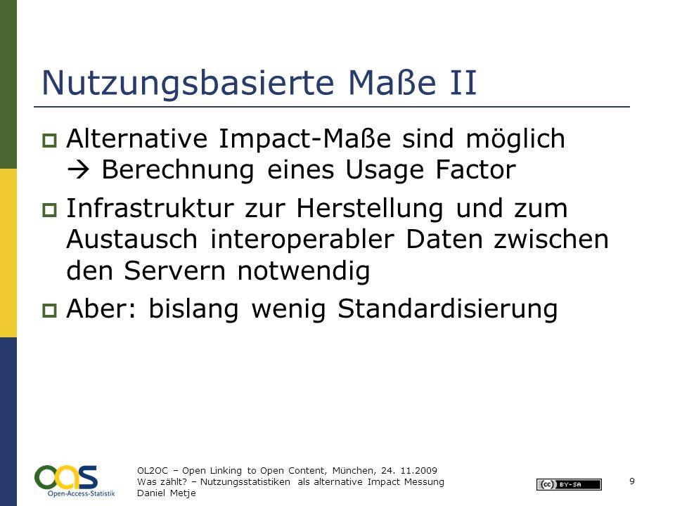 Nutzungsbasierte Maße II Alternative Impact-Maße sind möglich Berechnung eines Usage Factor Infrastruktur zur Herstellung und zum Austausch interopera