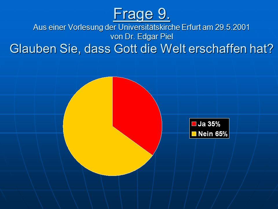 Frage 9.Aus einer Vorlesung der Universitätskirche Erfurt am 29.5.2001 von Dr.