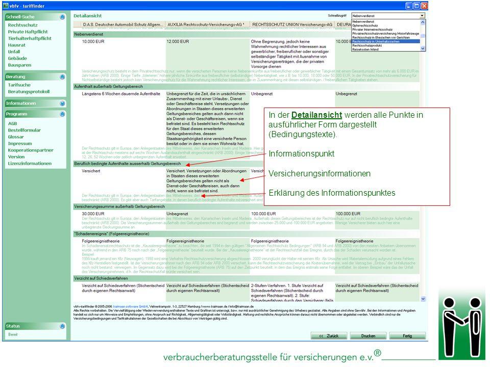 Schnellsuchliste für einzelne Informationspunkte In der Detailansicht werden alle Punkte in ausführlicher Form dargestellt (Bedingungstexte). Informat