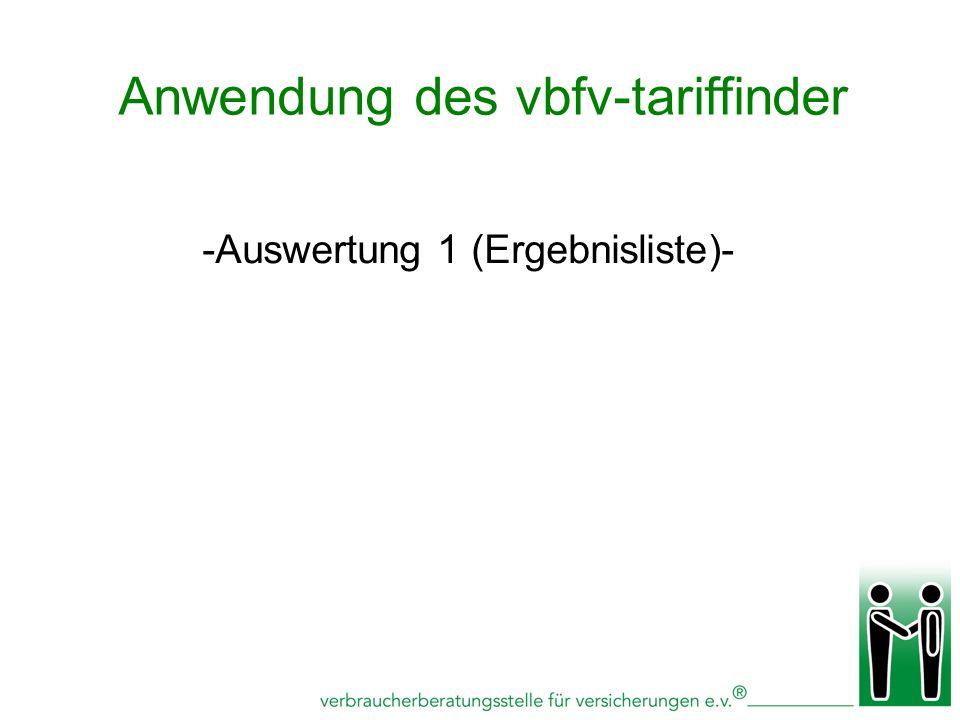 -Auswertung 1 (Ergebnisliste)- Anwendung des vbfv-tariffinder