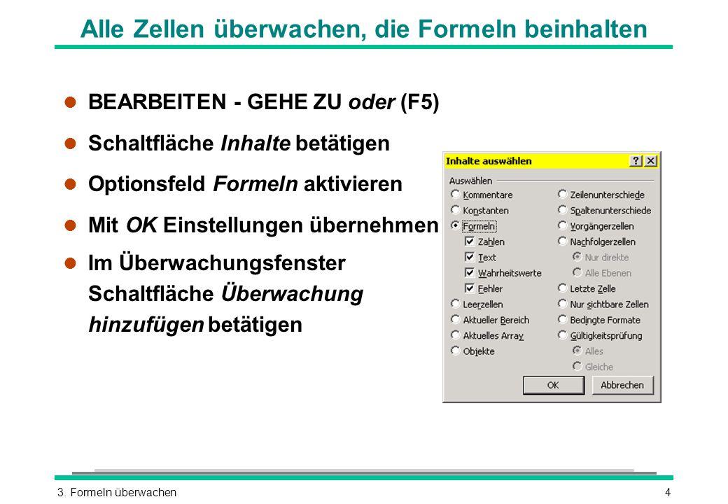 3. Formeln überwachen4 Alle Zellen überwachen, die Formeln beinhalten BEARBEITEN - GEHE ZU oder (F5) l Schaltfläche Inhalte betätigen l Optionsfeld Fo
