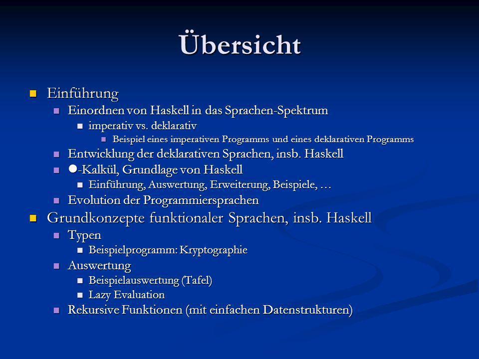 Übersicht Einführung Einführung Einordnen von Haskell in das Sprachen-Spektrum Einordnen von Haskell in das Sprachen-Spektrum imperativ vs. deklarativ