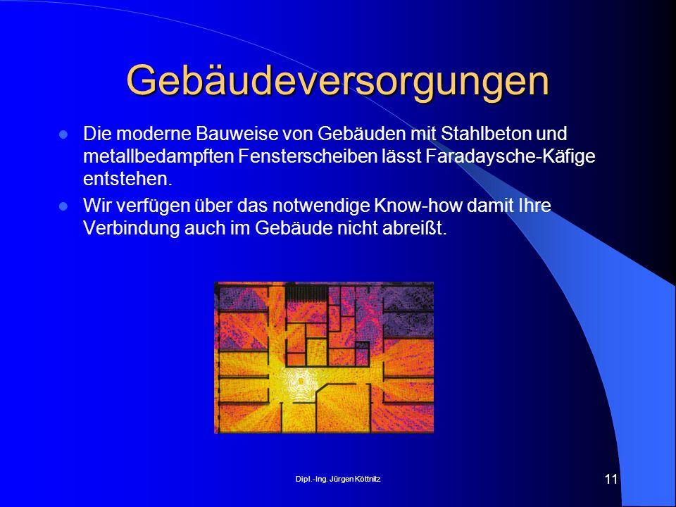 Dipl.-Ing. Jürgen Köttnitz 11 Gebäudeversorgungen Die moderne Bauweise von Gebäuden mit Stahlbeton und metallbedampften Fensterscheiben lässt Faradays